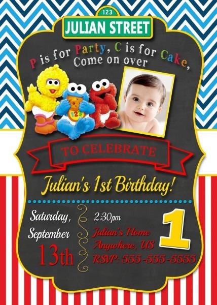 Elmo Sesame Street Birthday Party Invitation Wording Ideas Vintage