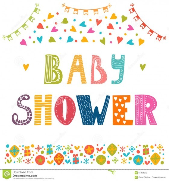 Baby Shower Invitation Template  Cute Postcard Stock Vector