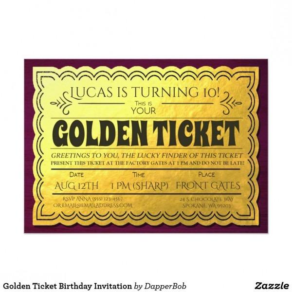 Golden Ticket Birthday Invitation Golden Ticket Chocolate Factory