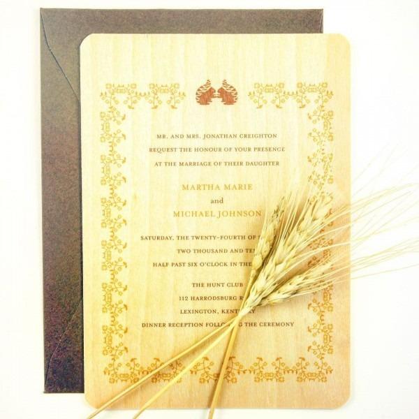 Folk Style Fall Wedding Invitation Printed On Wood Honey