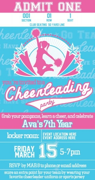 Printable Cheerleader Party Invitation Designed Like Sports
