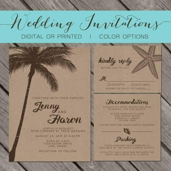 Beach Kraft Paper Wedding Invitation, Palm Trees, Island
