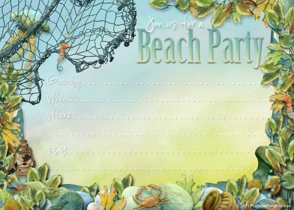 Beach Birthday Party Invitations Beach Birthday Party Invitations