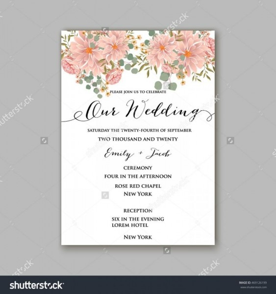 Beautiful Wedding Floral Vector Invitation Sample  Card Design