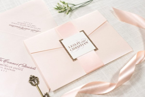 Rose Gold Glitter And Blush Shimmer Pocketfold Wedding Invitation