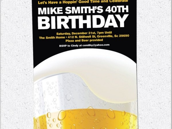 Beer Themed Birthday Party Invitations