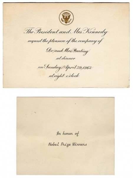 Invitation To A White House Dinner Held In Honor Of U S  Nobel