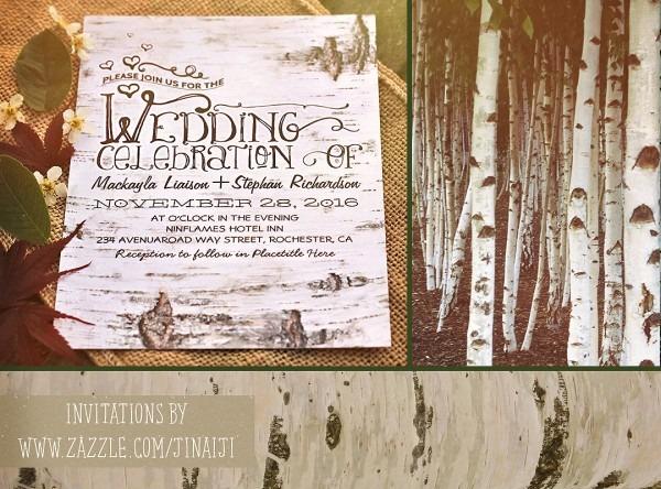 Birch Bark Rustic Wedding Invites – Need Wedding Idea