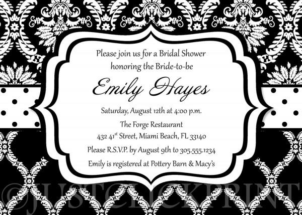 Black White Damask Bridal Shower Invitation Printable · Just Click