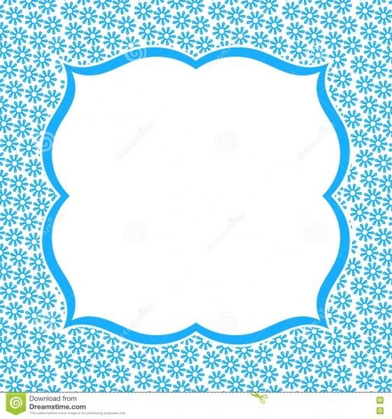 Blue Frame Border Flower Invitation Card Stock Illustration