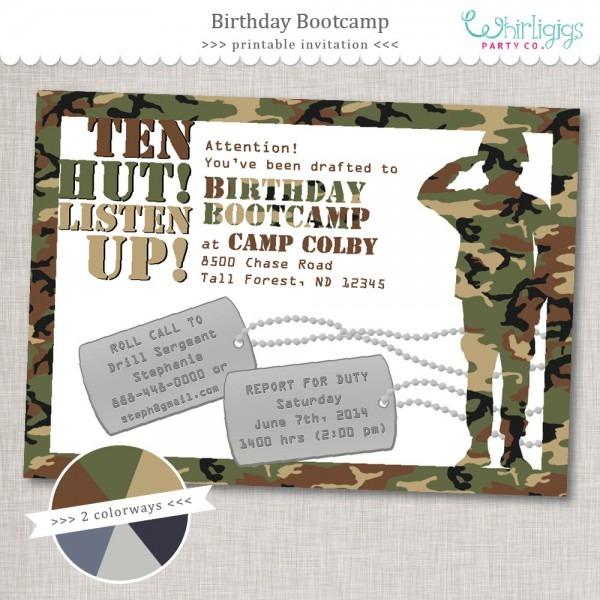 Bootcamp Birthday Army Party Amazing Printable Camo Birthday