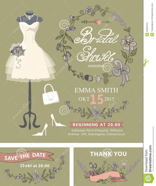 Bridal Shower Invitation Set  Bridal Dress,floral Stock Vector