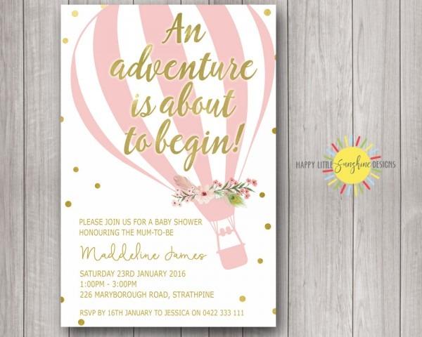 Baby Shower Invitation With Gold Glitter & Colour Confetti
