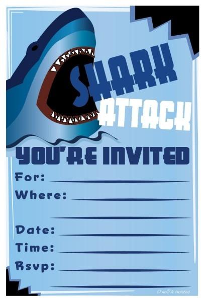 Bvt Epic Shark Birthday Invitations