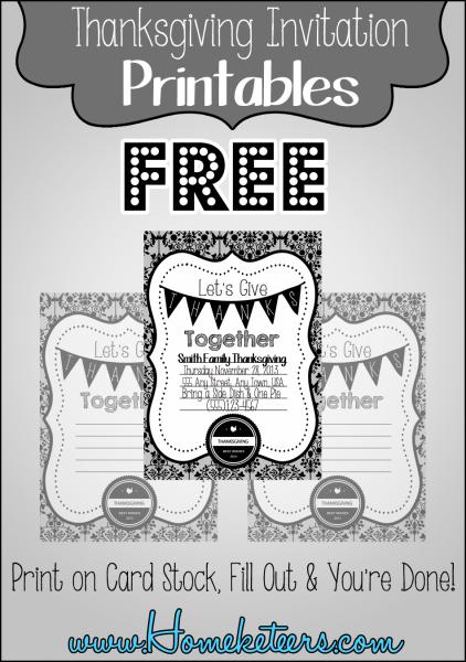 """Black & White """"formal"""" Thanksgiving Invitations ~ Free Printable"""