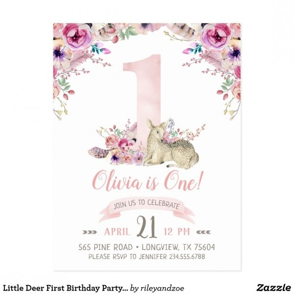 Little Deer First Birthday Party Photo Invitation In 2019