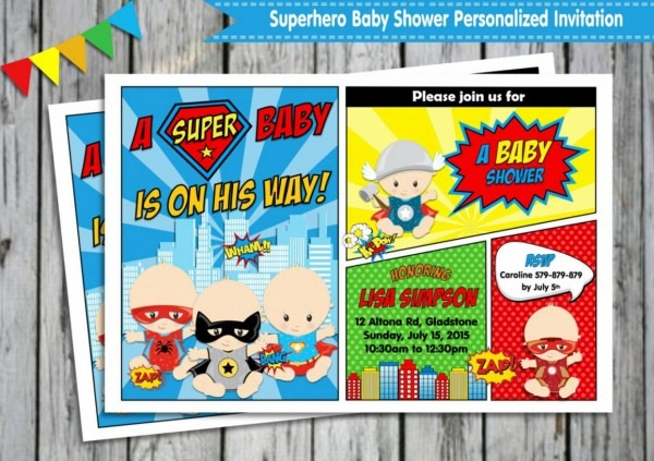 Best 2018! Superhero Baby Shower Invitations Free Designs