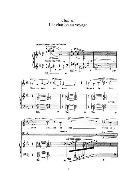 L'invitation Au Voyage (chabrier, Emmanuel)