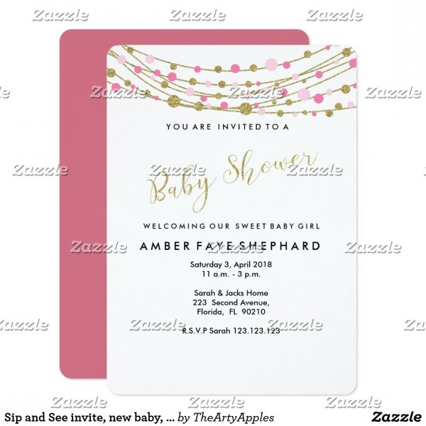 Sip And See Invite, New Baby, Welcome Party Invitation Card