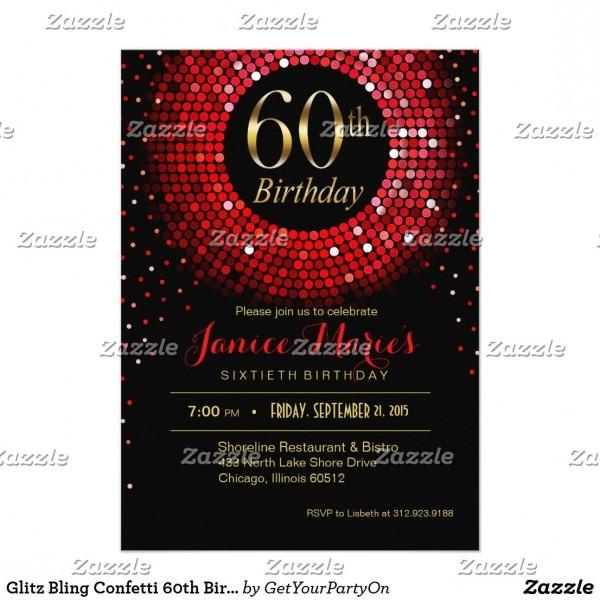 Glitz Bling Confetti 60th Birthday Red Gold Black Invitation