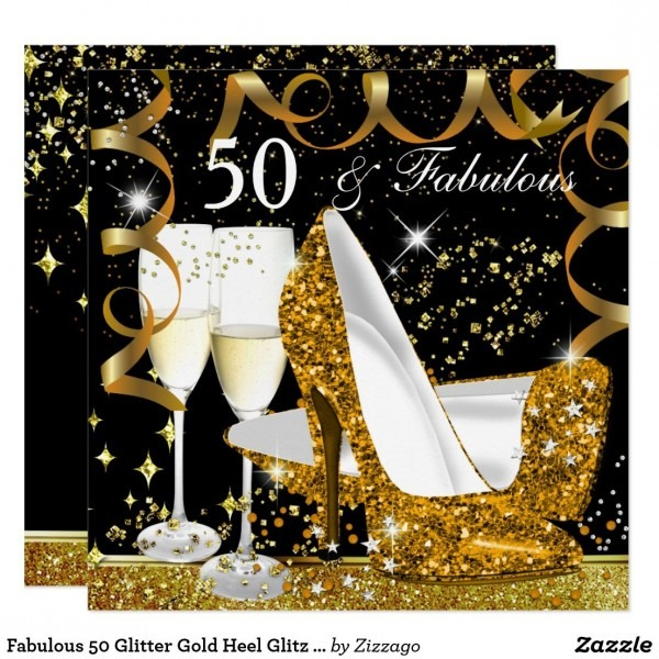 Fabulous 50 Glitter Gold Heel Glitz Glam Party Card Black And Gold