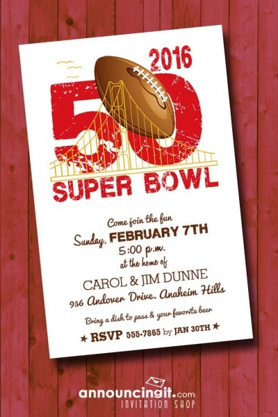 Super Bowl 50 Party Invitations