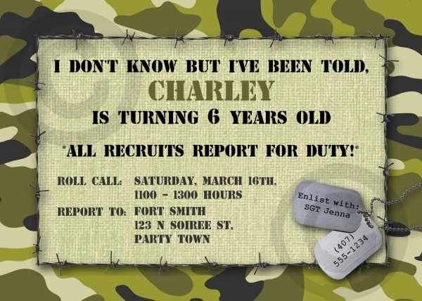 Camouflage Birthday Invitations Template Pavkmhp Perfect