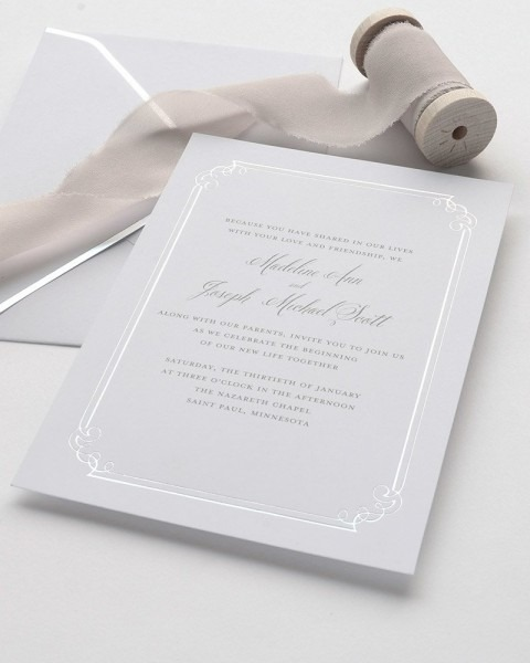 Silver Foil Print At Home Invitation Kit