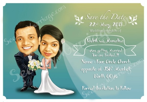 We Cordially Invite You – Caricature Theme Save The Date Wedding E