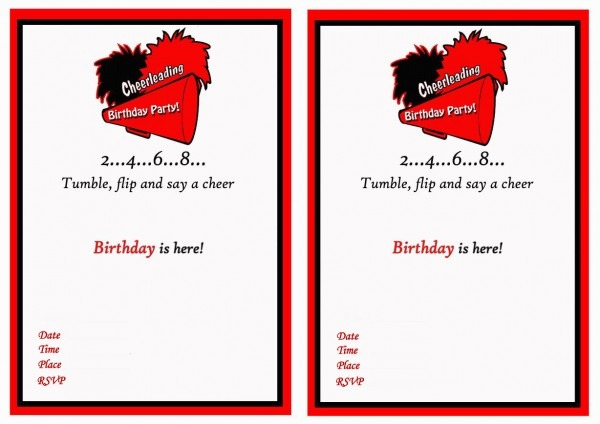 Cheerleading Birthday Invitations