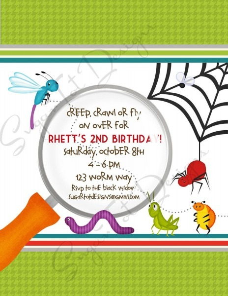 Bug Birthday Party Invitation, Bugs, Garden Party Birthday