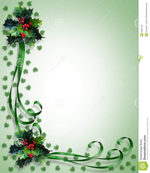 Christmas Border Holly And Ribbons Stock Illustration