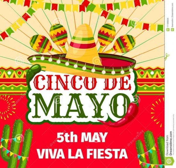 Cinco De Mayo Mexican Fiesta Vector Invitation Stock Vector