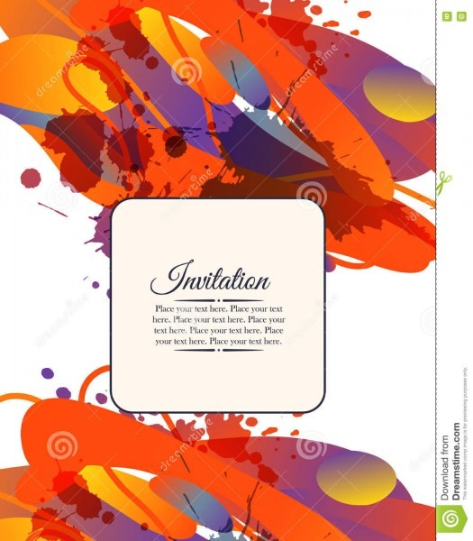 Colorful Decorative Invitation Card With Free Shapes And Blots
