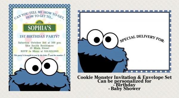 Cookie Monster Birthday Invitation Simple Cookie Monster