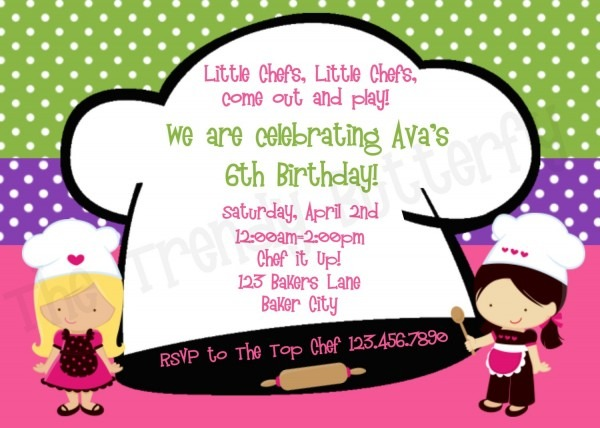 Cooking Party Invitations From Thetrendybutterfly Combined With