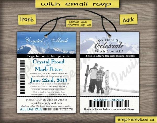 Custom Ski Pass Wedding Invitations From Winnipeg, Canada