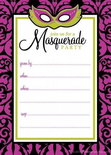 Cute Pink Masquerade Masks Party Invitations Templates