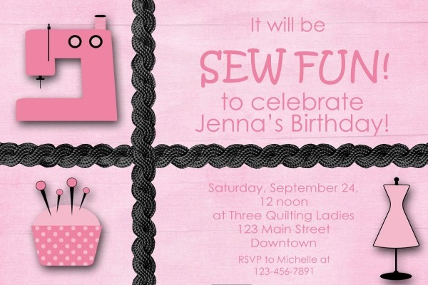 Sewing Party Girls Birthday Party Invitation