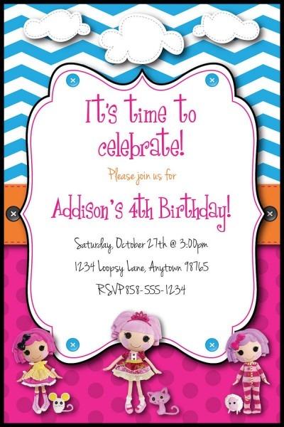 La La Loopsy Inspired Birthday Party Custom Invitation Or Thank