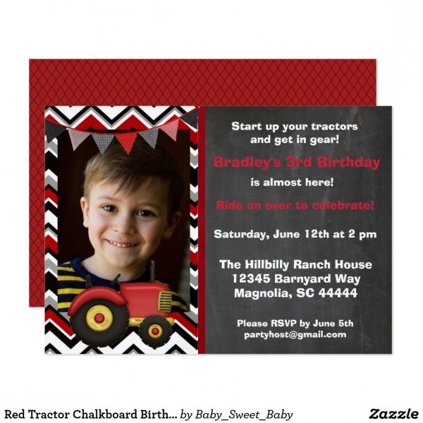Red Tractor Chalkboard Birthday Invitation
