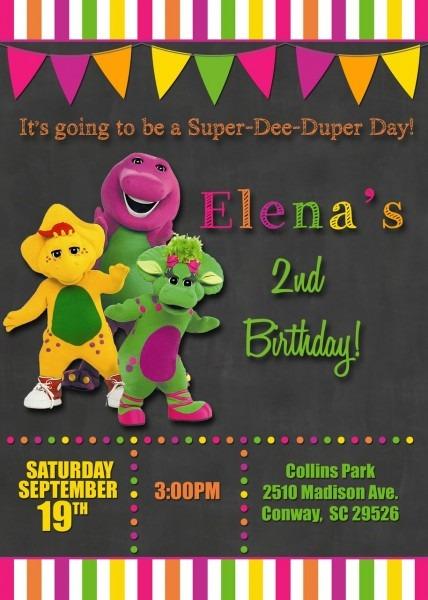 Chalkboard Barney Birthday Party Invitations