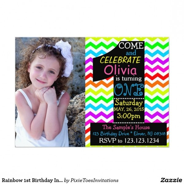 Rainbow 1st Birthday Invitation  Invitation In 2018