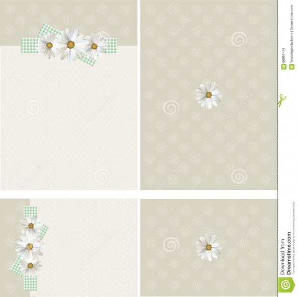 Daisies On Gingham Rustic Wedding Invitation Set Stock Vector