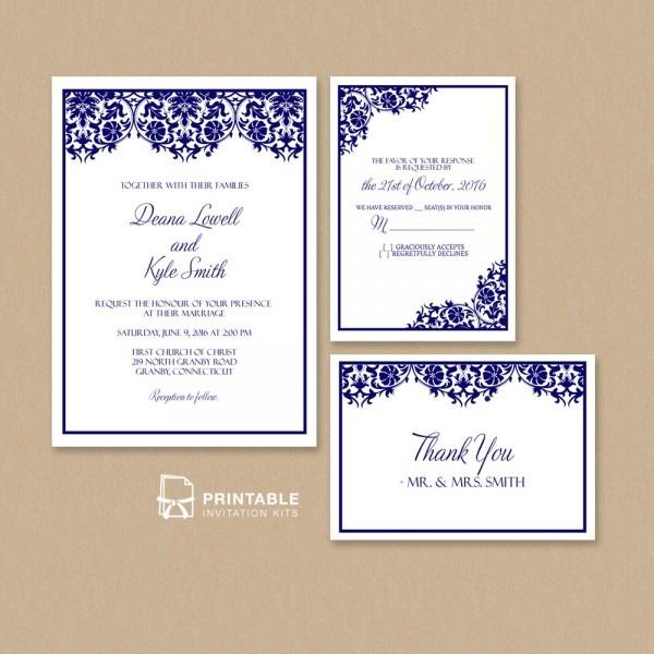 Damask Frame Wedding Invitation Templates – Set ← Wedding