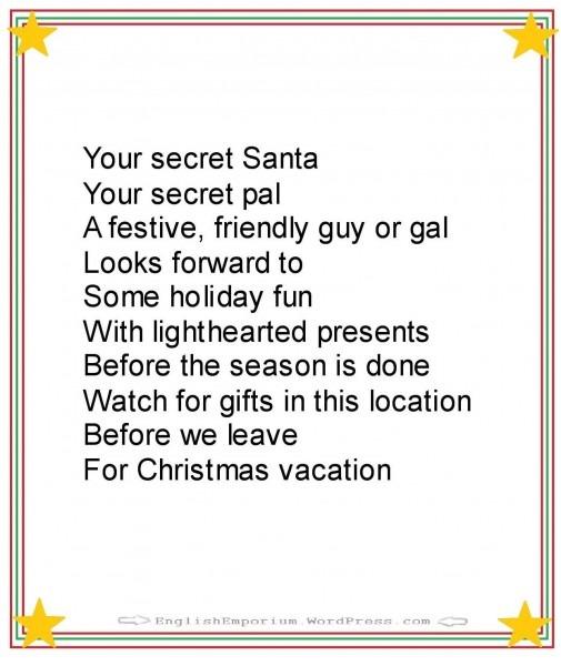 A Christmas Poem For Your Secret Santa