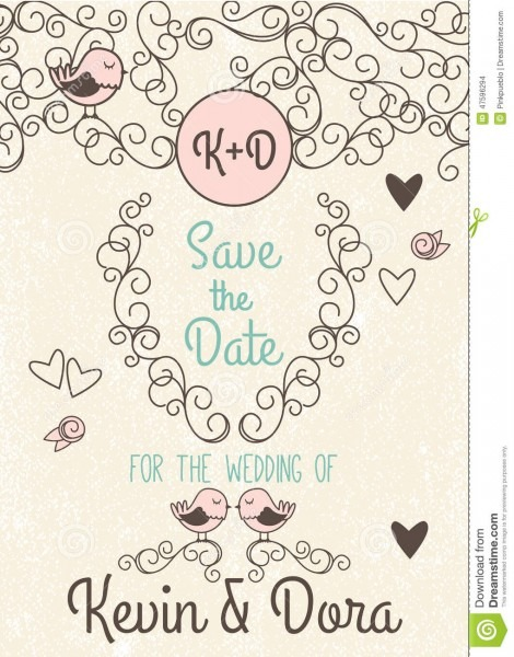 Doodle Style Wedding Invitation With Love Birds And Monogram Stock