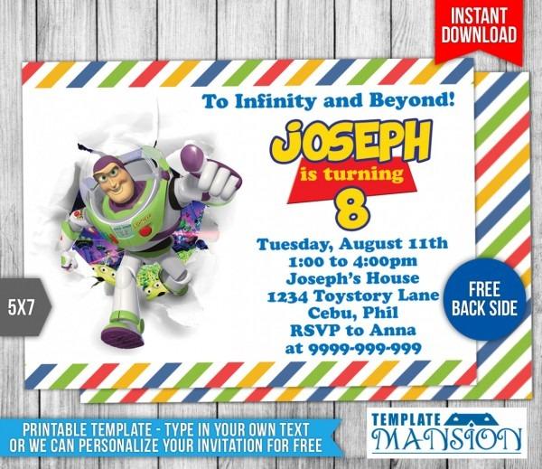 Download Buzz Lightyear Toy Story Birthday Invitation 1 By