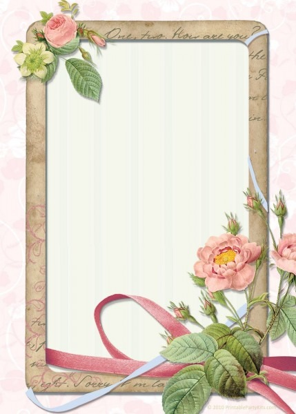 Free Vintage Rose Invitation Blank For All Occasions
