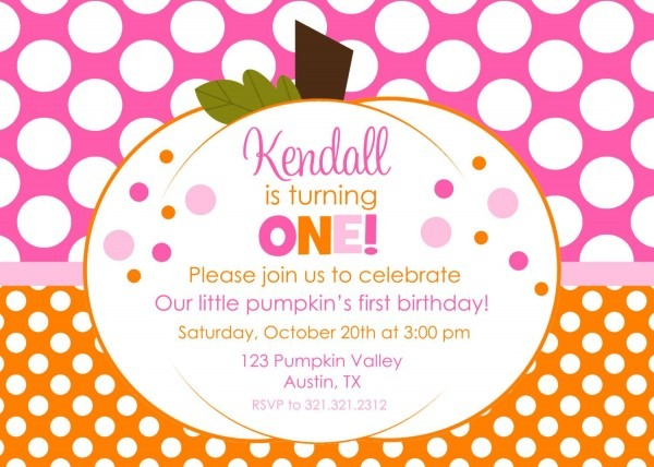 Pumpkin Hot Pink And Orange Polka Dot Printable Birthday